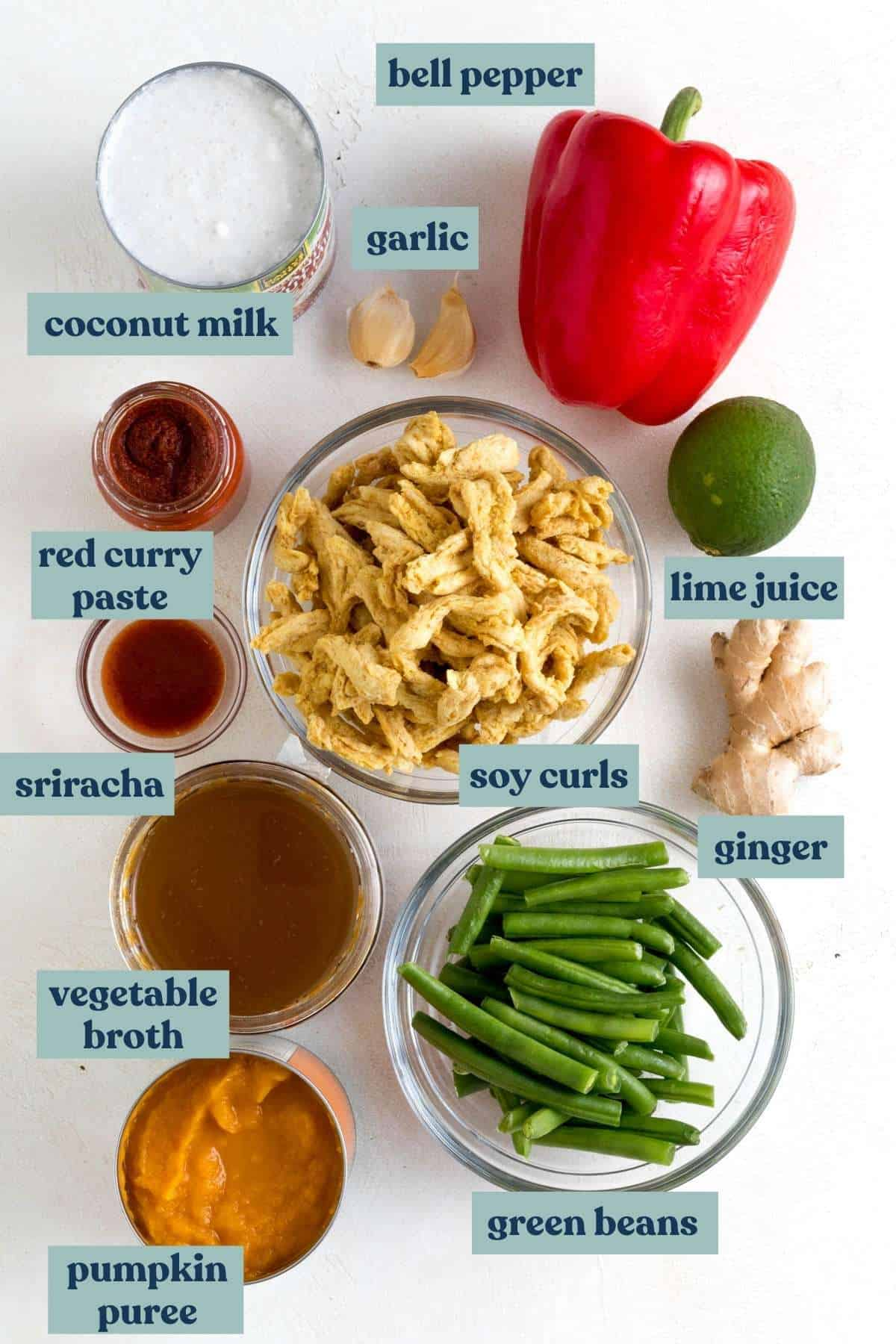 Ingredients needed for Thai pumpkin curry measured into bowls and labeled.